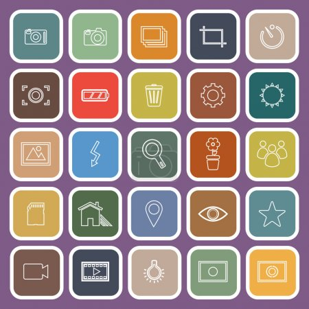 Photography line flat icons on violet background