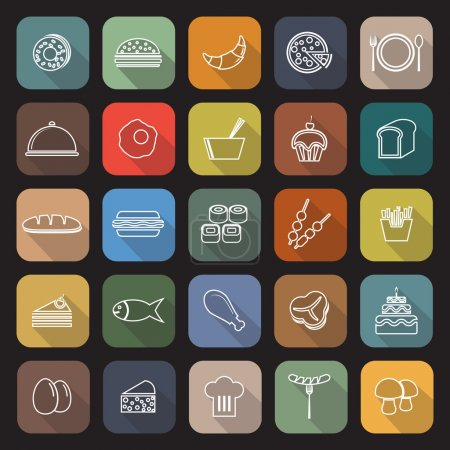 Food line flat icons with long shadow