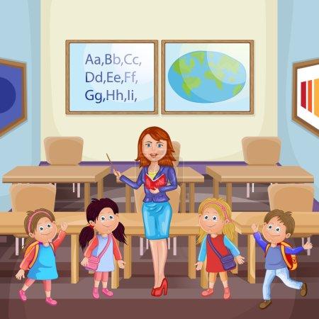 Illustration pour Enseignant et écoliers . - image libre de droit