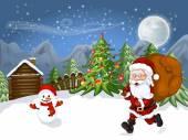 Merry Christmas Card Illustration of a funny cartoon Santa Claus and snowman