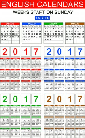 English Calendars of 2017. Four Styles