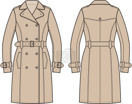 Illustration for Vector illustration of women's trench coat. Front and back views - Royalty Free Image