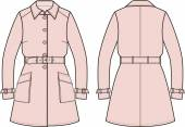 Vector illustration of women's trench coat Front and back views