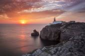 Lighthouse Sao Vicente during sunset, Sagres Portugal