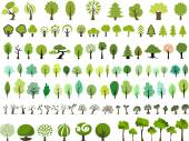 Many style and color vector trees
