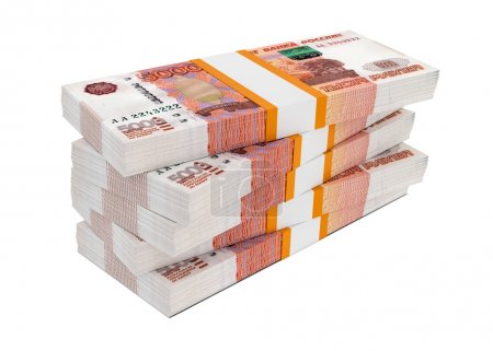 Russian rubles bills packs on stack