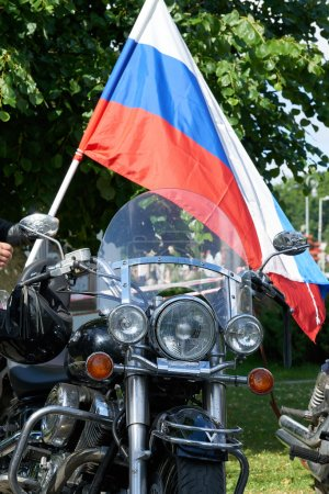 First in Kaliningrad procession on motorcycles and priest