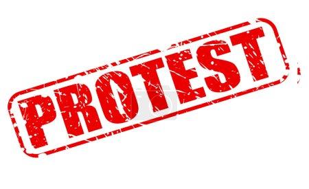 Illustration pour Texte du timbre rouge de protestation sur blanc - image libre de droit