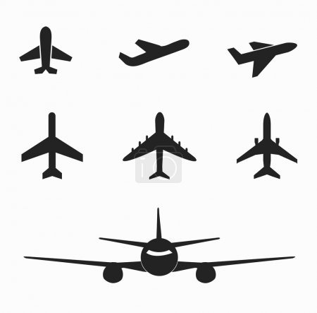 Set of airplane icon on white