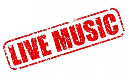 Illustration pour Musique live timbre rouge texte sur blanc - image libre de droit