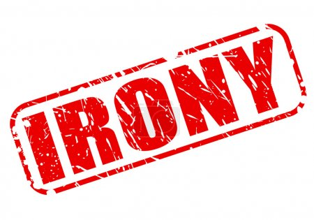 Illustration for Irony red stamp text on white - Royalty Free Image