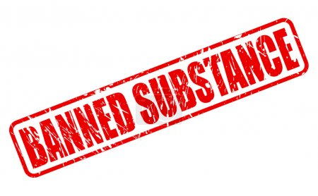 BANNED SUBSTANCE red stamp text