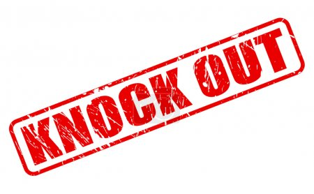 Illustration for KNOCK OUT red stamp text on white - Royalty Free Image