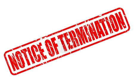 Illustration pour AVIS DE TERMINATION timbre rouge texte sur blanc - image libre de droit