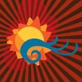 Oranžové pozadí slunce ikona vektorové ilustrace