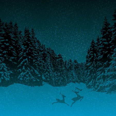 Dark night winter forest blue background