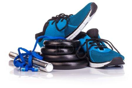 Photo pour Fitness noir cloche muette sur fond blanc - image libre de droit