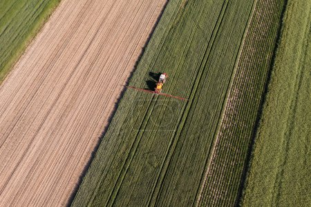 Aerial view of the tractor on harvest field