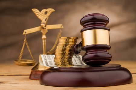 Photo for Judge gavel money and scales closeup - Royalty Free Image