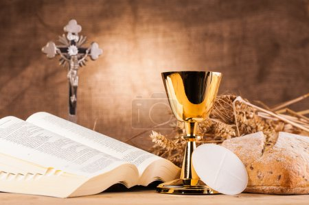 Holy communion next to bible
