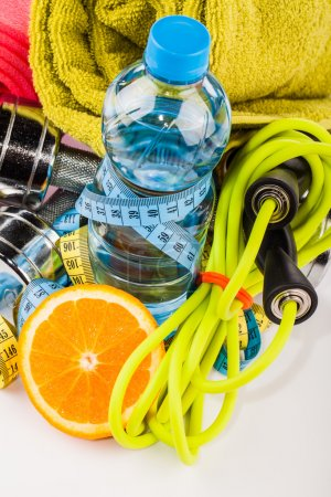 Fitness water and healthy food