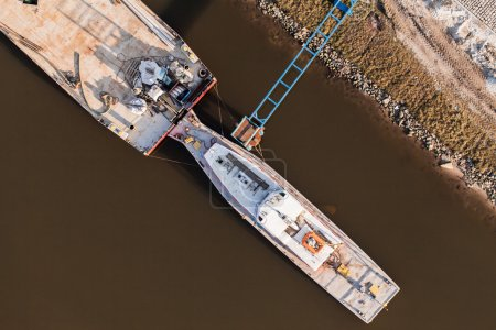 aerial view of a barge