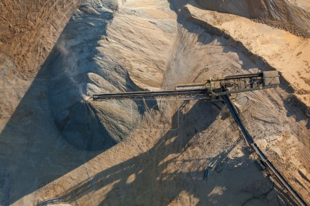 aerial view of rock quarry
