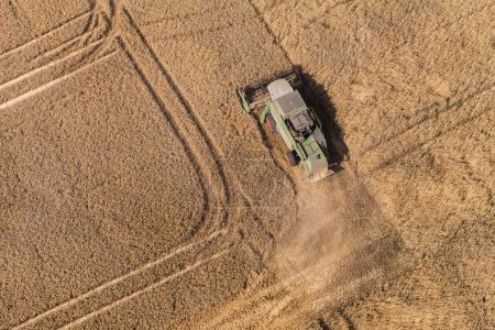 aerial view of combine on the harvest field