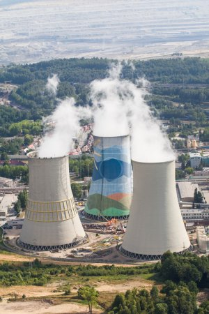 Aerial view of coal power plant in Poland