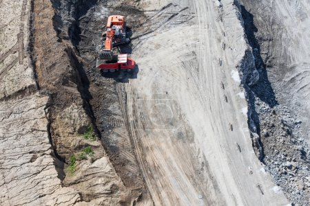 Aerial view of the earth mover