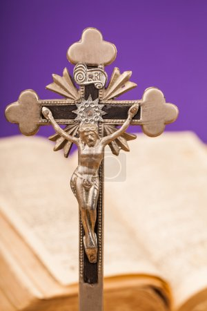 Crucifix composition and bible