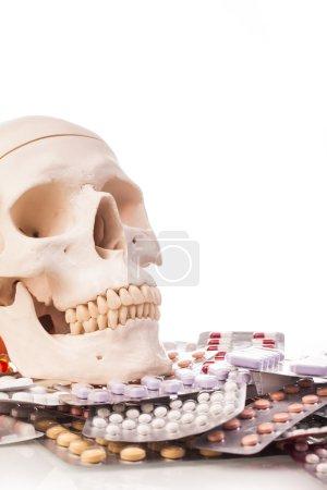 Variety medicines and human skull