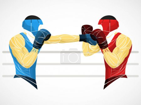 Photo for Sparing stylized boxer, boxing bout - Royalty Free Image