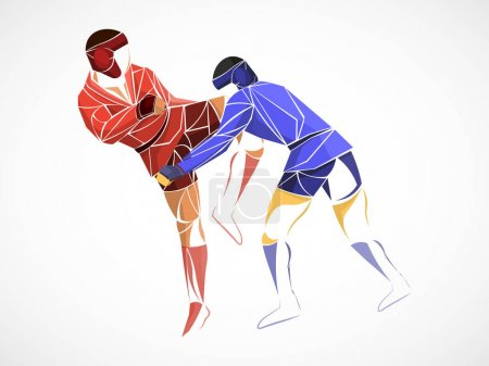 Photo for Fighting sambo, judo, karate, taekwondo set. Geometric athletes, fighters - Royalty Free Image