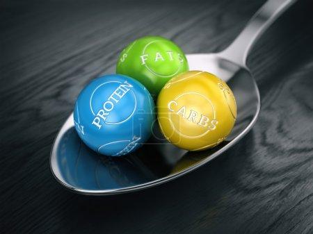 Photo pour Bon concept de régime équilibré - graisses glucides et protéines dans la cuillère - image libre de droit