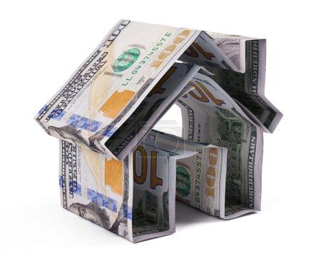 Photo pour Dollar maison isolée sur fond blanc - image libre de droit