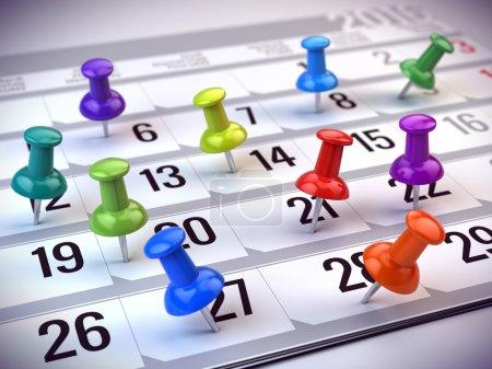 Photo pour Concept de rappel, d'organisation du temps et du calendrier - épingles colorées marquant les jours du mois sur un calendrier. Rendu 3d - image libre de droit
