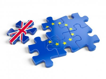 Euro Puzzle and one Puzzle Piece With Great Britain Flag