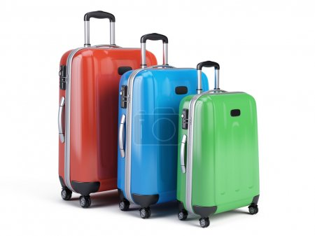 3d icon of three travel luggage bags isolated on w...