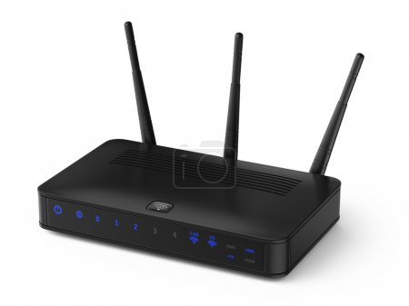 Photo for Wireless router isolated on white, 3d illustration - Royalty Free Image