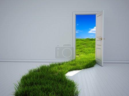 Photo pour Chambre vide avec porte ouverte et chemin d'herbe verte vers le champ, illustration 3d - image libre de droit