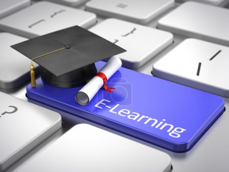 Photo for Graduation cap and diploma on keyboard - e-learning concept - Royalty Free Image
