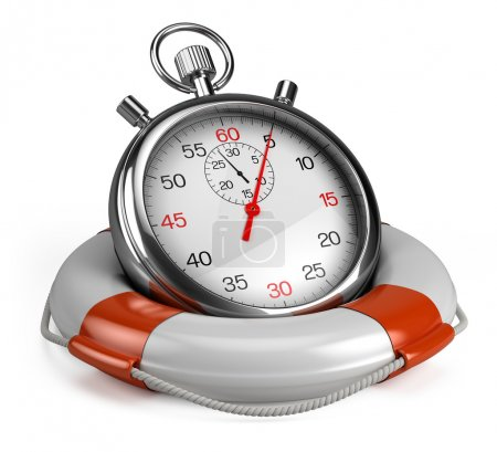 Stopwatch and lifebuoy on white
