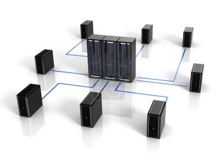 Photo pour Serveur et les ordinateurs - notion de netwokr et de la communication informatique - image libre de droit