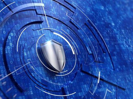Photo pour Concept de sécurité - bouclier sur fond de code numérique - image libre de droit