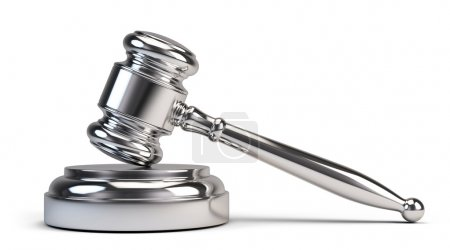 Photo for Law concept - Silver judge gavel isolated on white - Royalty Free Image