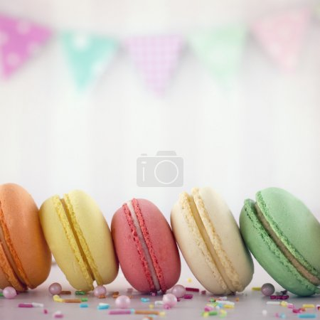 Photo for Colorful macarons with pink pastel background - Royalty Free Image