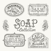 Hand drawn labels and patterns for handmade soap bars