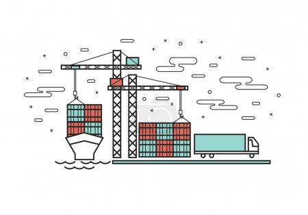 Thin line flat design for container ship, Industrial port, Conta