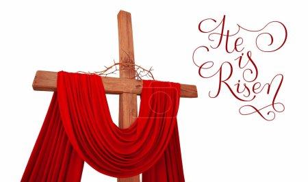 Photo pour Croix chrétienne en bois avec une couronne d'épines avec des lettres Il est ressuscité sur blanc - image libre de droit